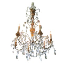 Crystal Genovese Italian Hand Carved Hanging Ceiling Light Pendant Chandelier LA