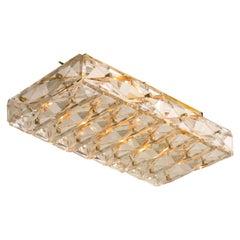 Crystal Glass and Brass Flush Mount Wall Light, Kalmar Modernist Design, 1960s