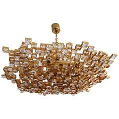 Crystal Glass and Gold Plated Brass Chandelier by Palwa, 1970s