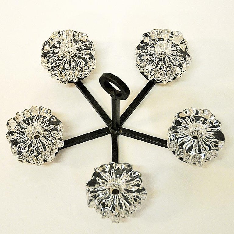 Scandinavian Modern Crystal Glass and Iron Candleholder by Willy Johansson, Norway, 1970s For Sale