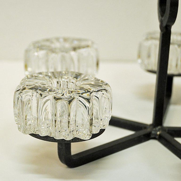 Norwegian Crystal Glass and Iron Candleholder by Willy Johansson, Norway, 1970s For Sale