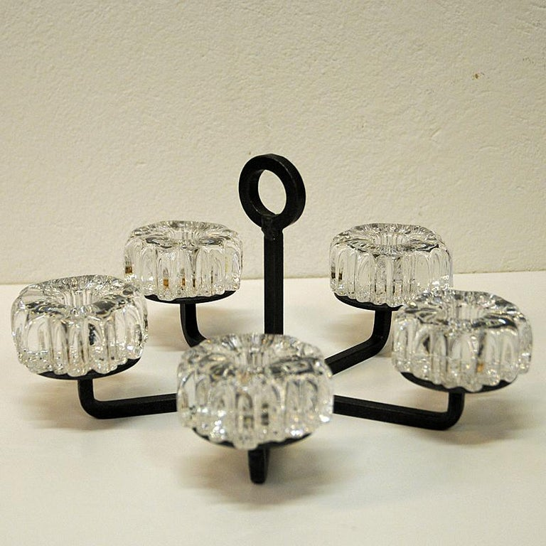 Late 20th Century Crystal Glass and Iron Candleholder by Willy Johansson, Norway, 1970s For Sale