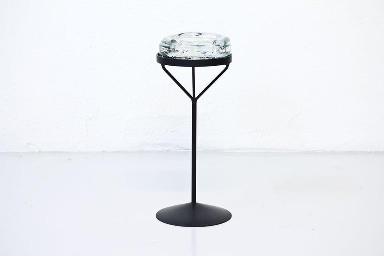 Scandinavian Modern Crystal Glass Ashtray with Iron Stand by Erik Höglund for Boda, Sweden, 1960s For Sale