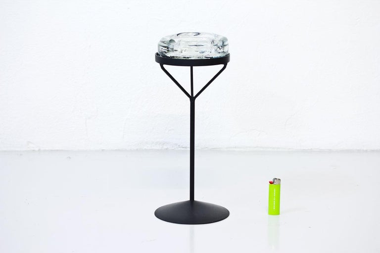 Swedish Crystal Glass Ashtray with Iron Stand by Erik Höglund for Boda, Sweden, 1960s For Sale
