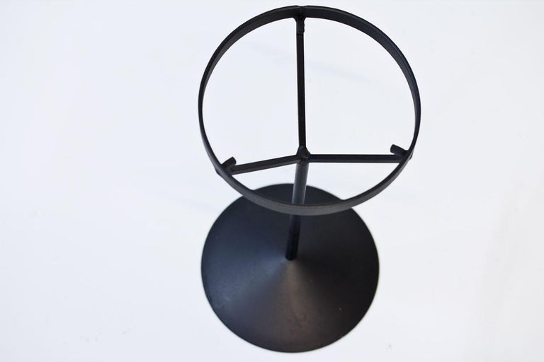Crystal Glass Ashtray with Iron Stand by Erik Höglund for Boda, Sweden, 1960s In Good Condition For Sale In Stockholm, SE