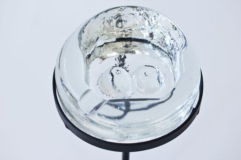20th Century Crystal Glass Ashtray with Iron Stand by Erik Höglund for Boda, Sweden, 1960s For Sale