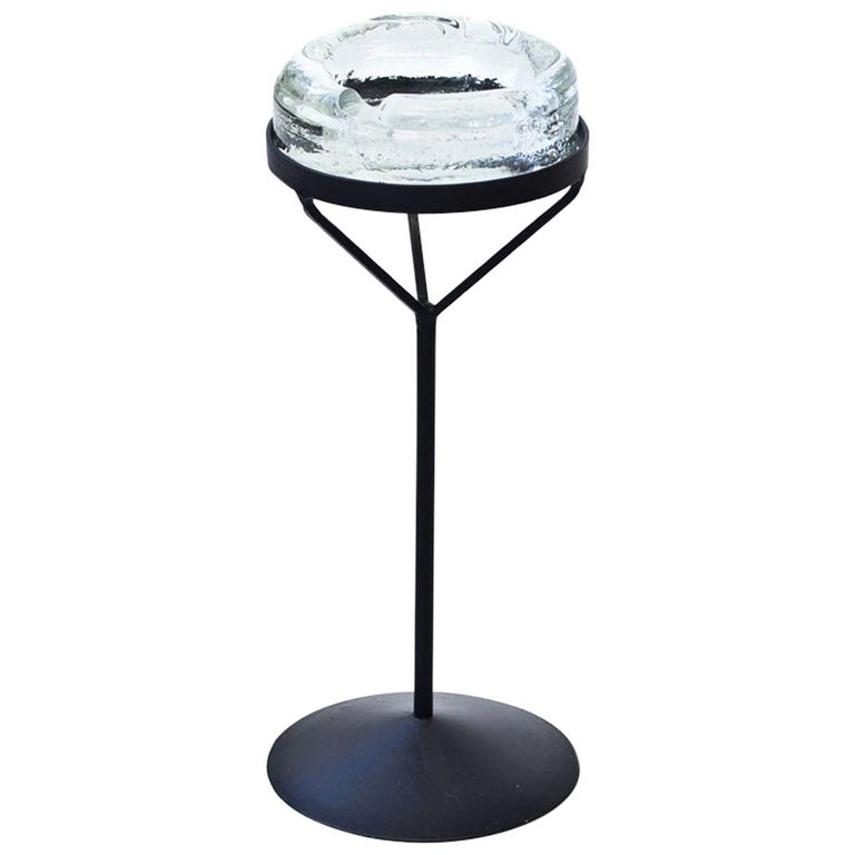 Crystal Glass Ashtray with Iron Stand by Erik Höglund for Boda, Sweden, 1960s For Sale