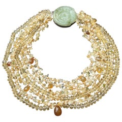 Crystal Citrine Glass Beaded Sterling Carved Jade Medallion Necklace c 1980s