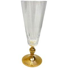 Crystal Glass gold plated Sterling Stem, Vintage Estate from Austria
