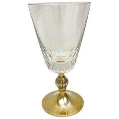 Crystal Glass Gold-Plated Sterling Stem, Vintage Estate from Austria
