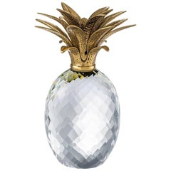Crystal Glass Pineapple with Brass Crown