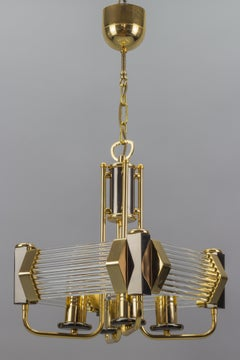 Crystal Glass Rods and Brass Four-Light Hanging Chandelier, 1970s