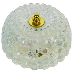 Crystal Glass Round Flush Mount by Glashütte Limburg, 1960s, Germany