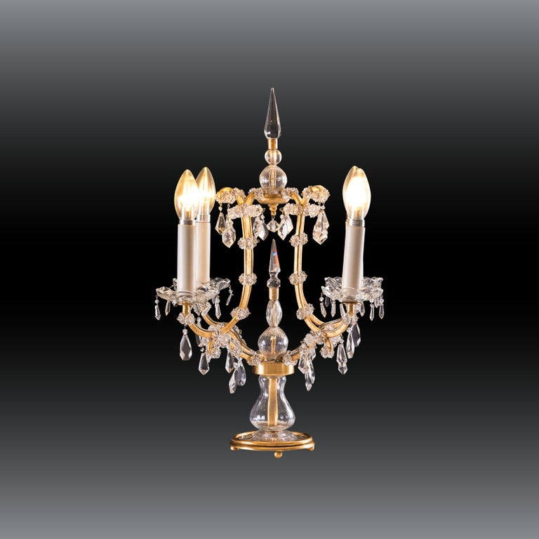 Baroque Revival Original Crystal Glass Table Lamp Maria Theresia 20th Century  For Sale