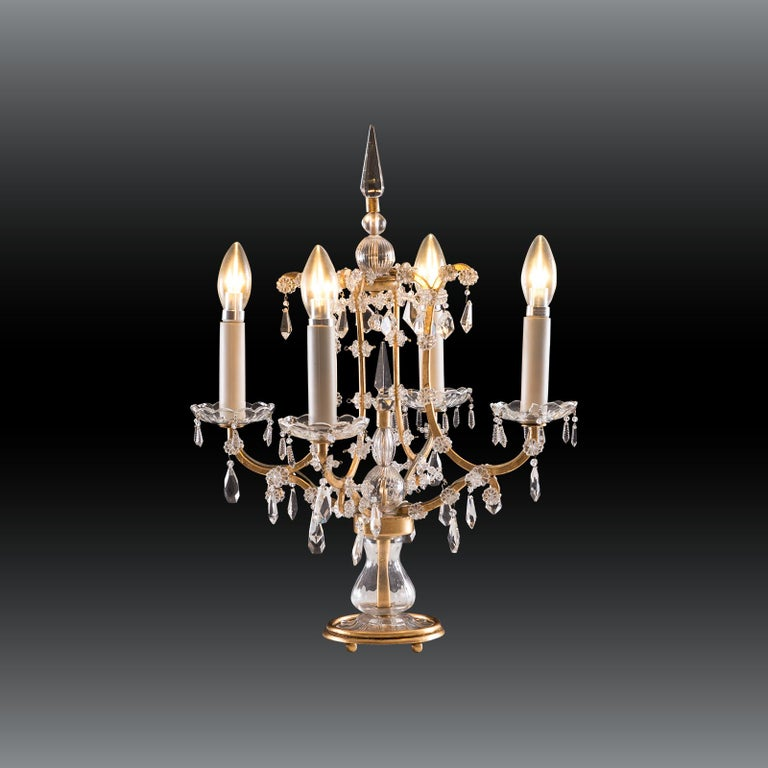 Austrian Original Crystal Glass Table Lamp Maria Theresia 20th Century  For Sale