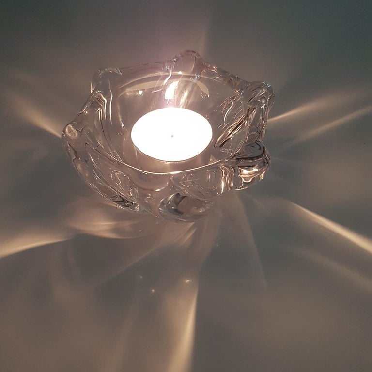 French Crystal Glass Votive Candleholder by Daum Nancy, France, 1960s For Sale