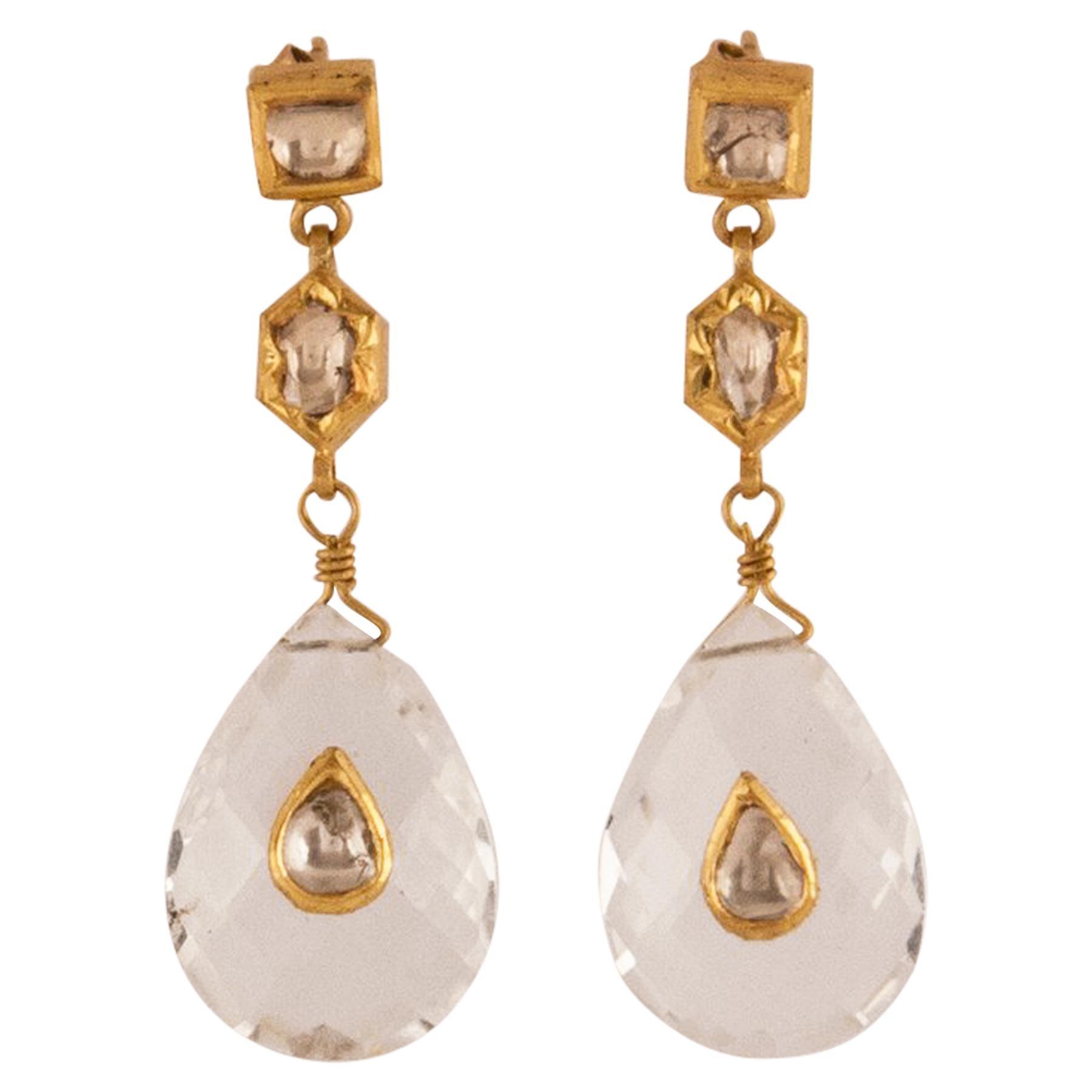Crystal Gold Diamond Drop Dangle Earrings
