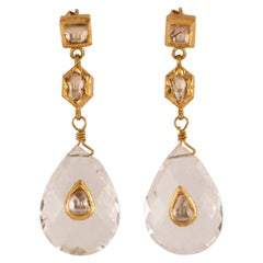 Crystal Gold Diamond Drop Dangle Earrings