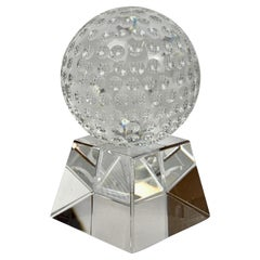 Two part Crystal Golf Ball on Crystal Stand