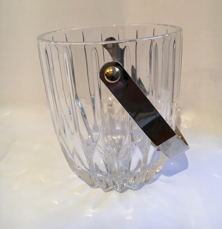 Mid-Century Modern Crystal Ice Bucket with Nickel Handle For Sale