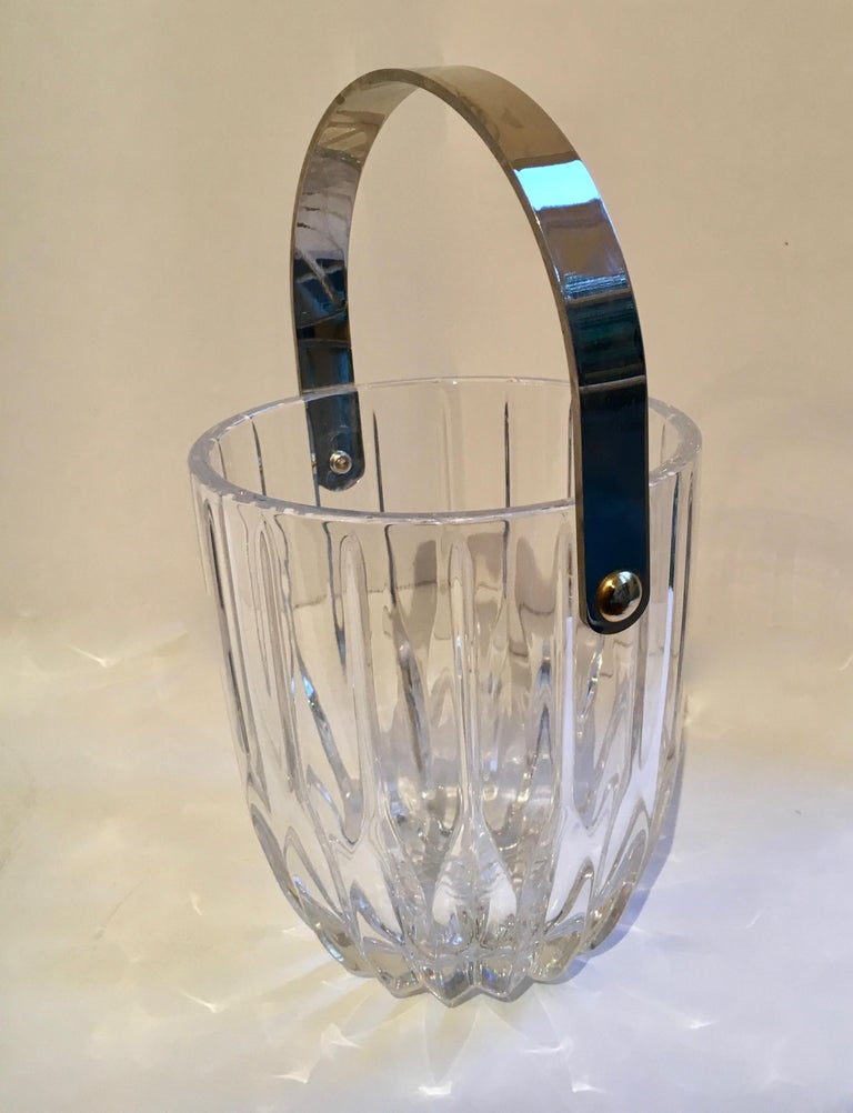 Crystal Ice Bucket with Nickel Handle In Good Condition For Sale In Los Angeles, CA