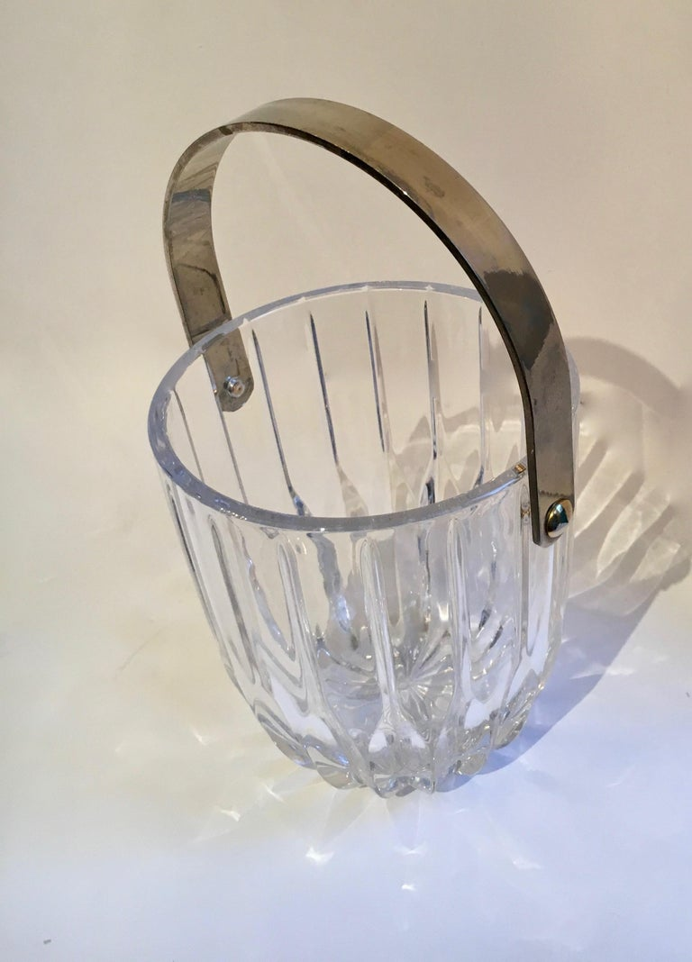 Brass Crystal Ice Bucket with Nickel Handle For Sale