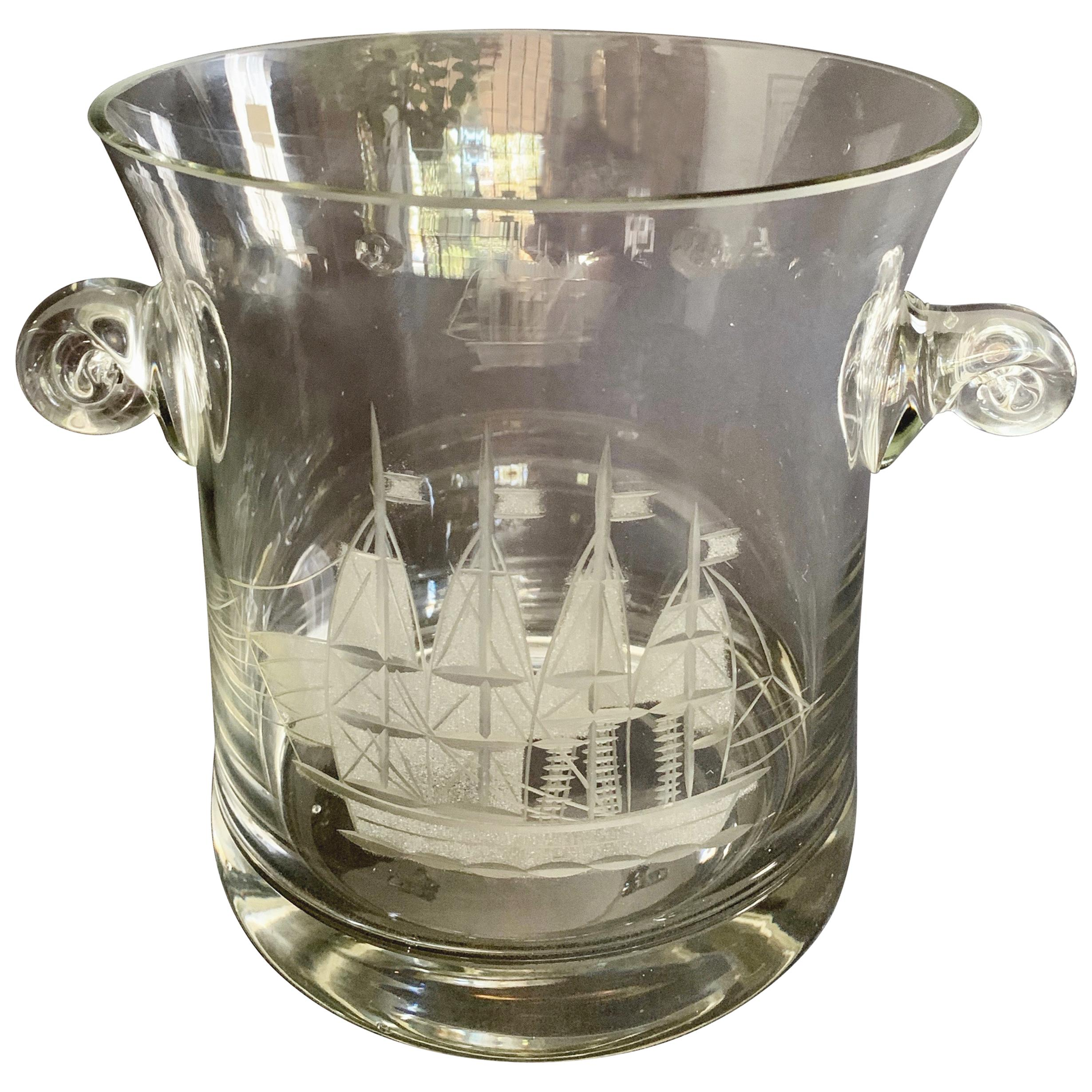 Crystal Ice Champagne Bucket with Etched Boat