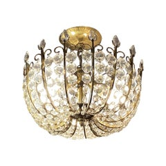 Crystal Jeweled Brass Semi Flush Chandelier