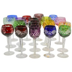 Crystal Mix Set of 18 Nachtmann Stem Glasses with Colored Overlay Cut to Clear