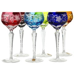 Crystal Mix Set of 6 Nachtmann Stem Glasses with Colored Overlay Cut to Clear
