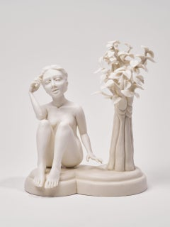 """Crystal Morey """"Delicate Dependency: A Full Shift"""", porcelain and clear glaze"""