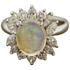 Crystal Opal Diamond Flower Platinum Ring