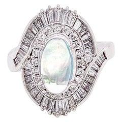 Crystal Opal Diamond Platinum Spiral Ring