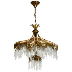 Crystal Palm Leaf Chandelier by Maison Jansen