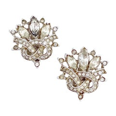 Crystal & Pavé Knot Earrings By Alfred Philippe For Crown Trifari, 1940s