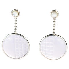 Crystal Pearl Stud Round 925 Sterling Silver Long Circle Woven Fashion Earrings