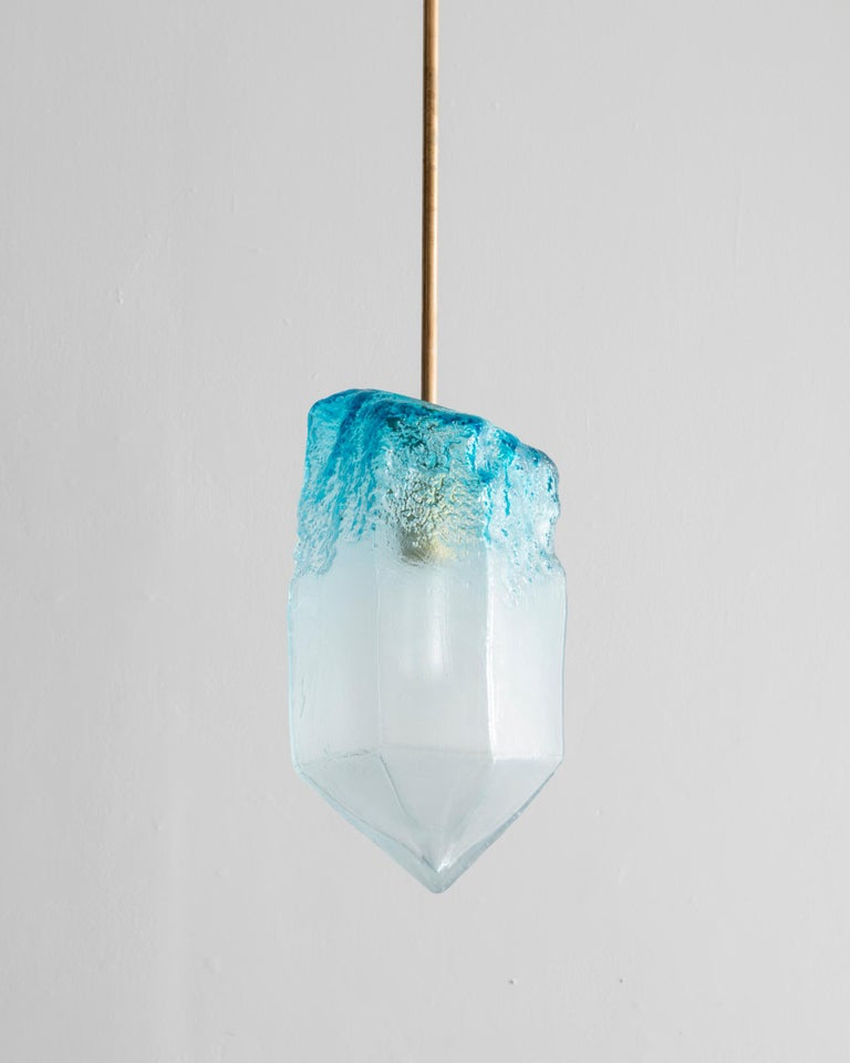 Illuminated hand blown blue glass crystal pendant with custom nickel-plated hardware. Designed and made by Jeff Zimmerman, USA, 2016.  Limited number available. Please note that each item may differ slightly in color and shape.