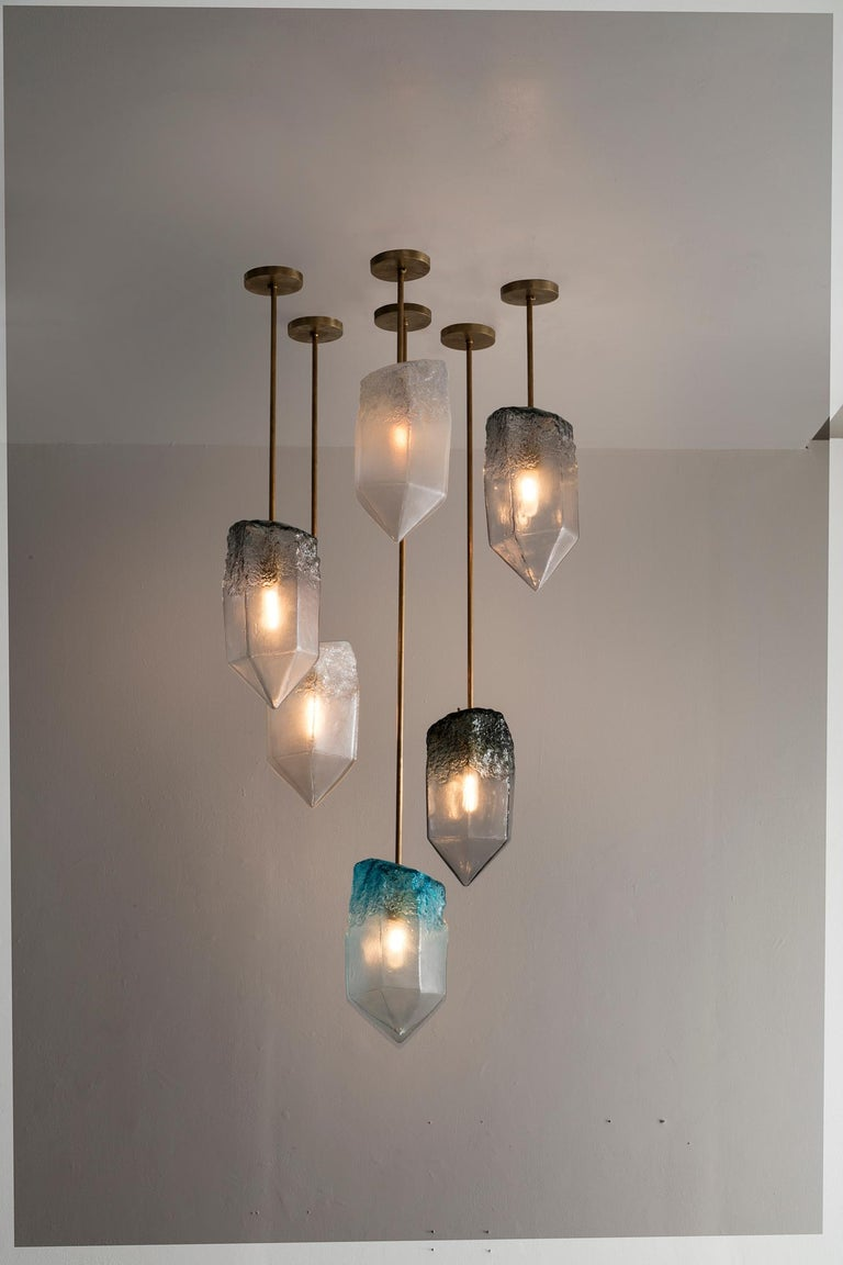 Contemporary Crystal Pendant Light in Gray Hand Blown Glass by Jeff Zimmerman, 2017 For Sale