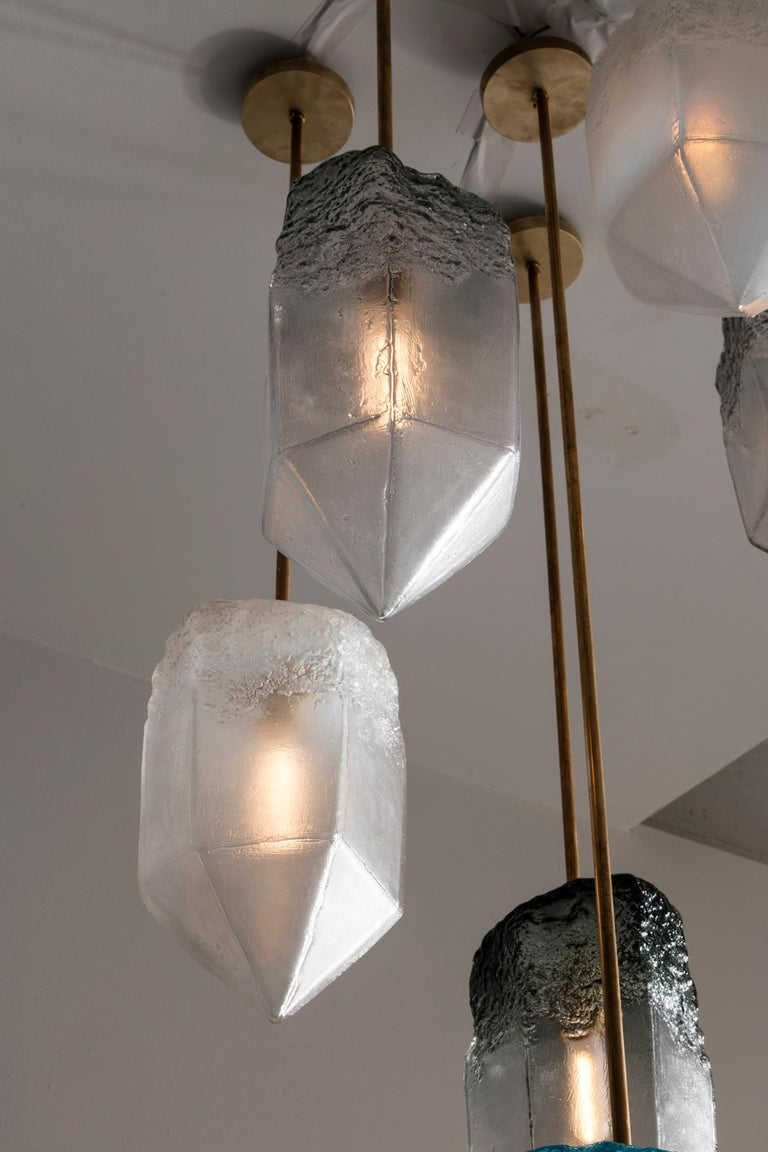 Crystal Pendant Light in Gray Hand Blown Glass by Jeff Zimmerman, 2017 For Sale 1