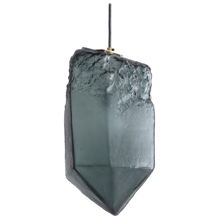 Crystal Pendant Light in Gray Hand Blown Glass by Jeff Zimmerman, 2017 For Sale
