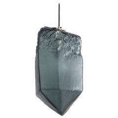 Crystal Pendant Light in Gray Hand Blown Glass by Jeff Zimmerman, 2017