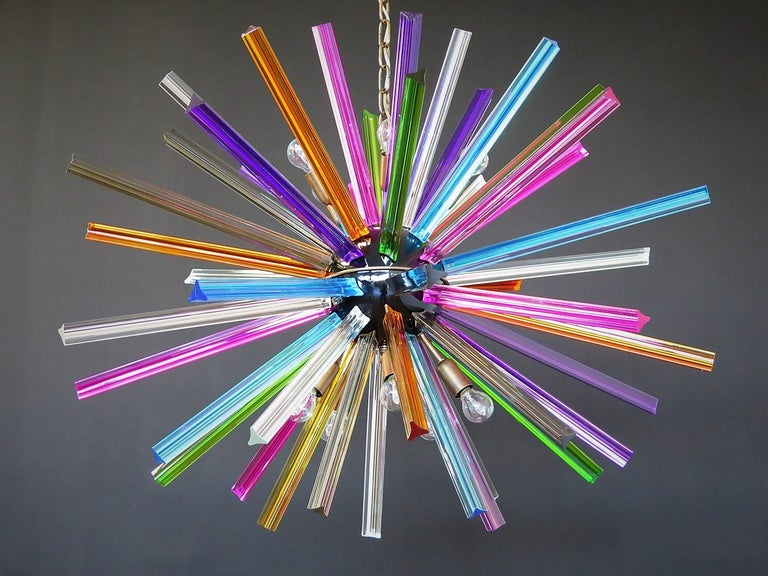 Crystal Prism Sputnik Chandeliers, 50 Multicolored Prisms, Italiy Murano 3
