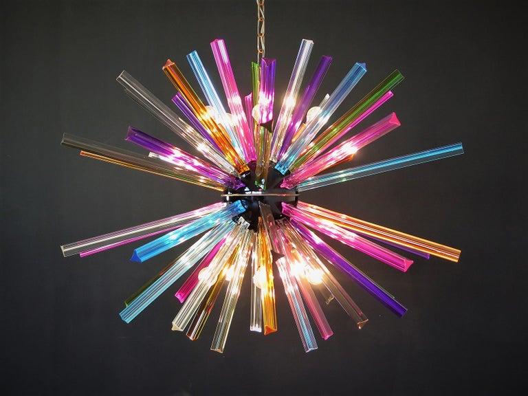 Italian Crystal Prism Sputnik Chandeliers, 50 Multicolored Prisms, Italiy Murano