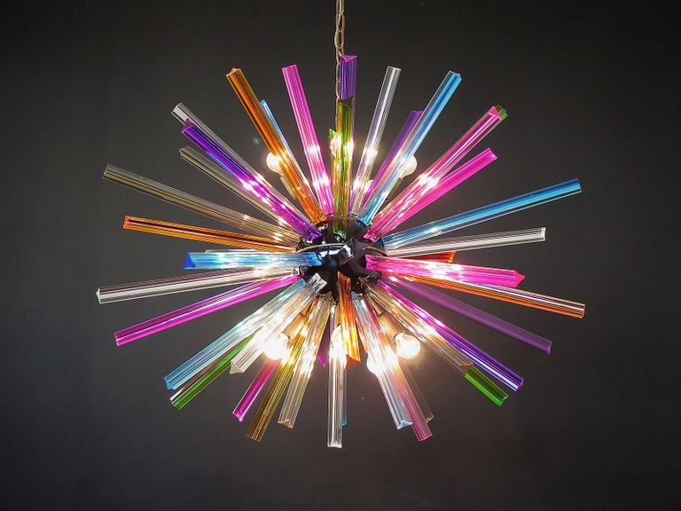 Crystal Prism Sputnik Chandeliers, 50 Multicolored Prisms, Italiy Murano In Excellent Condition In Gaiarine Frazione Francenigo (TV), IT