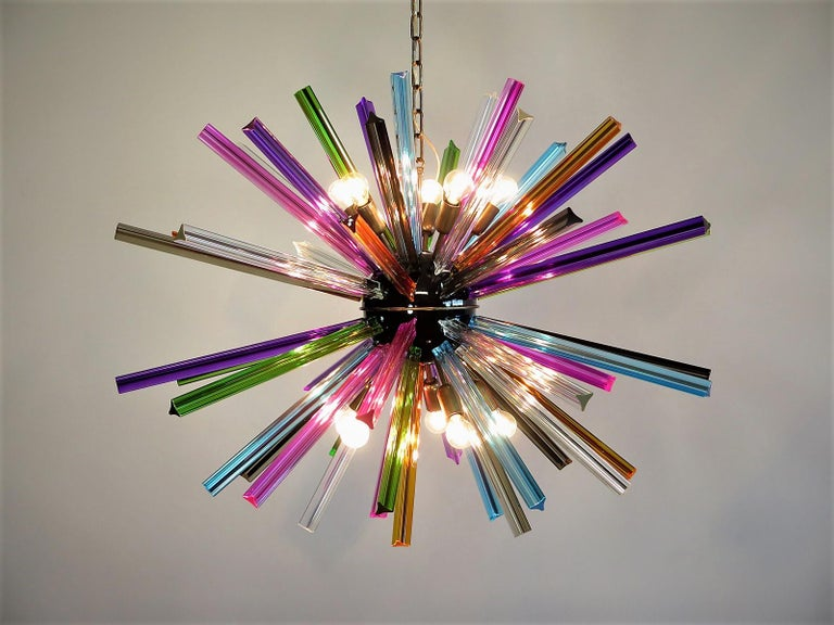 Late 20th Century Crystal Prism Sputnik Chandeliers, 50 Multicolored Prisms, Italiy Murano