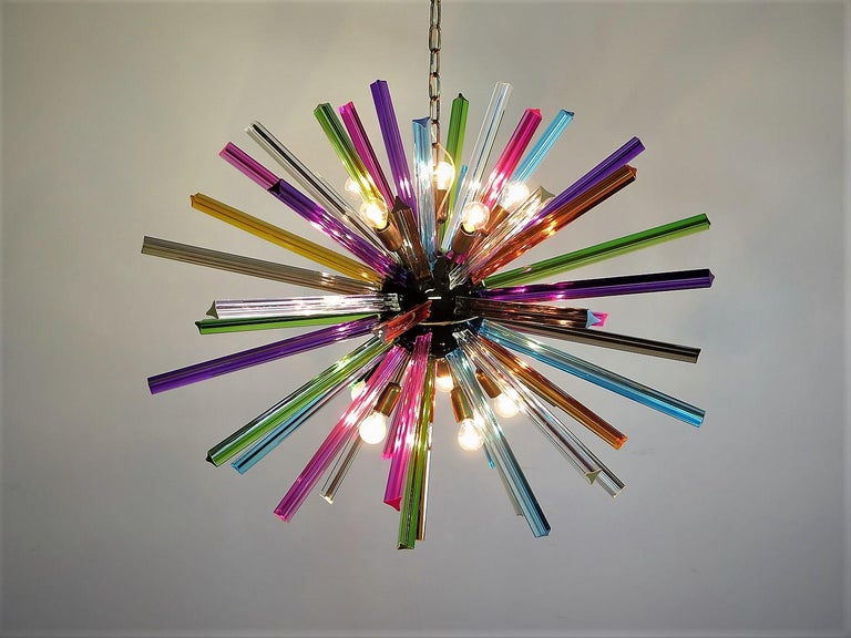 Blown Glass Crystal Prism Sputnik Chandeliers, 50 Multicolored Prisms, Italiy Murano