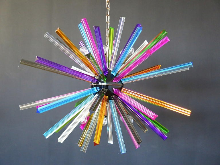Crystal Prism Sputnik Chandeliers, 50 Multicolored Prisms, Italiy Murano 2