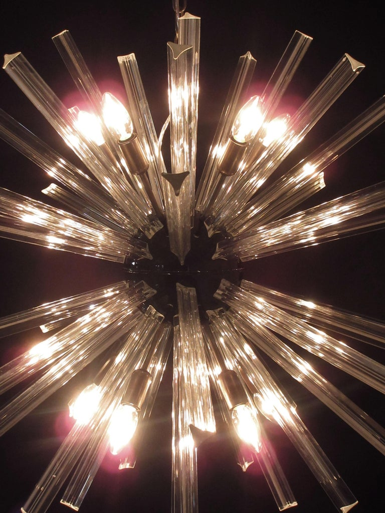 Crystal Prism Sputnik Chandeliers, 50 Prisms, Italy, Murano 3