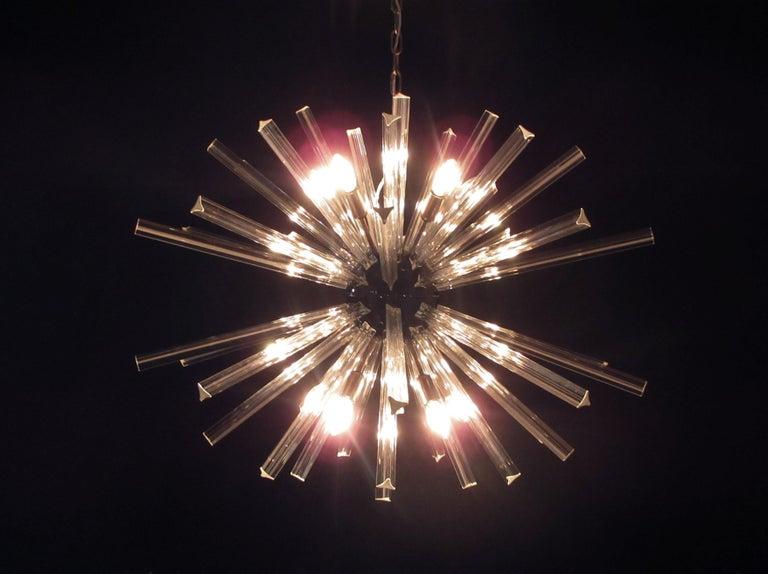 Crystal Prism Sputnik Chandeliers, 50 Prisms, Italy, Murano 4