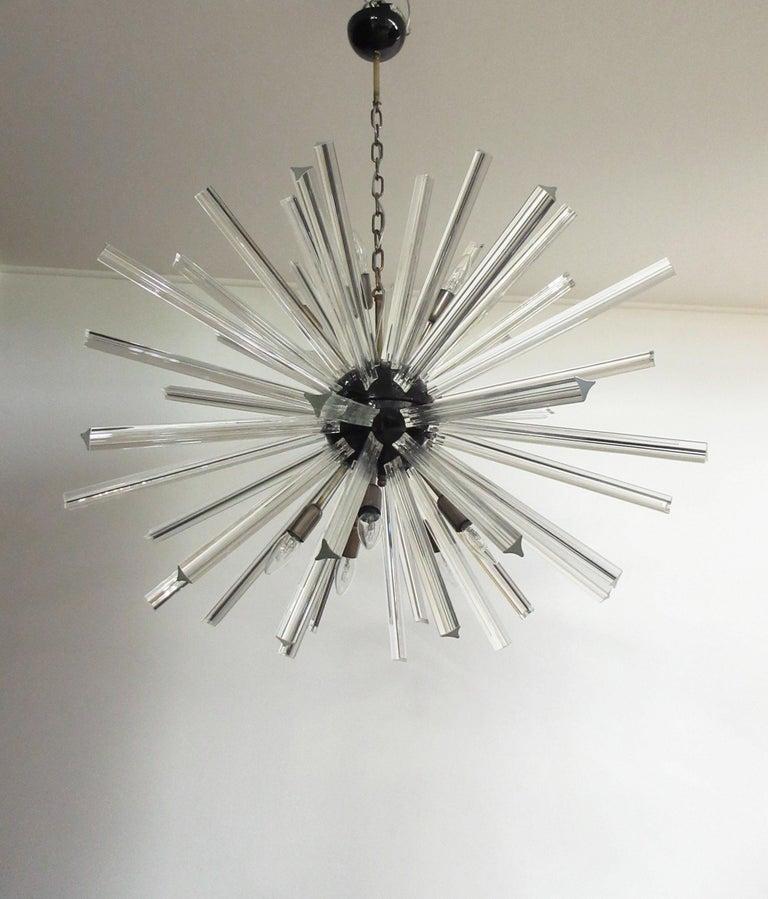 Italian Crystal Prism Sputnik Chandeliers, 50 Prisms, Italy, Murano